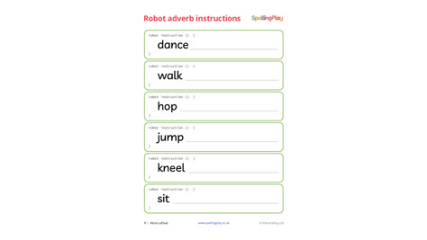 Robot adverb instruction cards