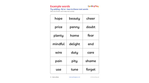 Example words: