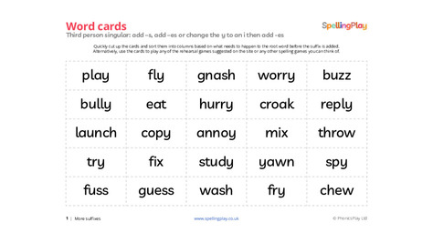 Third person singular sorting cards: